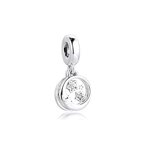 Auténtico Pandora 925 Colgante De Plata Esterlina Diy Navidad Durmiendo Luna Estrellas Encantos Pulsera De Ajuste Original Para Hacer Joyas