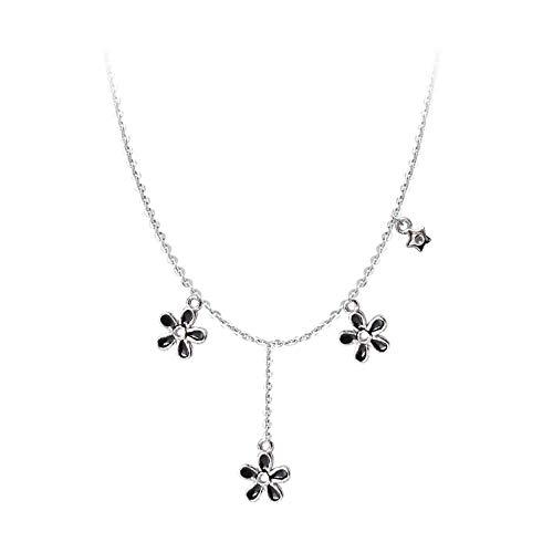 Collares Collar de cadena de plata para mujer, joyería, esmalte de gota, esmalte de flor negra, pompón, REGALOS DE CLAVÍCULA S-N656