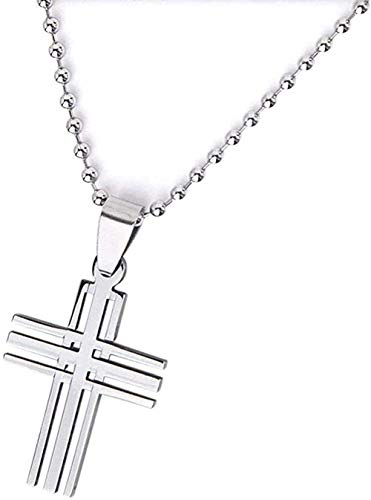 huangxuanchen co.,ltd Necklace Men's Necklace S Stainless Steel Cross Pendant Ball Bead Chain Necklace Gift