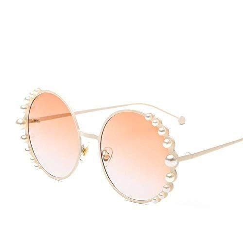 Zonnebril, Vintage Fashion gepolariseerde Gold Round Pearl Lens Gold Designer Aesthetic Rimless Frame UV400 Glazen for Driving Golf Casual Sports Simple Goggles