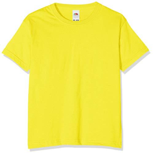 Camiseta de manga corta para niños, de la marca Fruit of the Loom, Unisex Amarillo amarillo 7 años