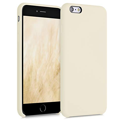 kwmobile Funda para Apple iPhone 6 Plus / 6S Plus - Carcasa de TPU para móvil - Cover Trasero en Blanco Marfil