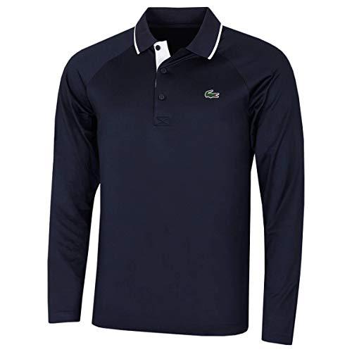 Photo of Lacoste Mens 2020 DH4758 Ribbed Collar Raglan Long Sleeve Polo Shirt Navy Blue/White