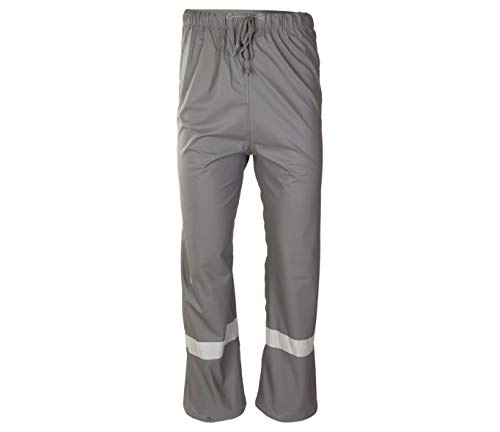 Grosvenor Reflektierende Regenhose PU Überziehhose Fahrradhose wasserdicht Schutzhose Hose (grau, XL)