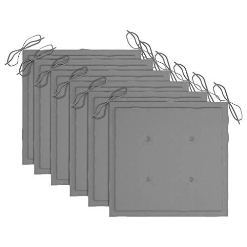 vidaXL 6X Cojines de Silla de Jardín Asiento Tumbonas Patio Terraza Exterior Acolchado Almohadilla Cómoda Práctico Gris Tela 50x50x4 cm