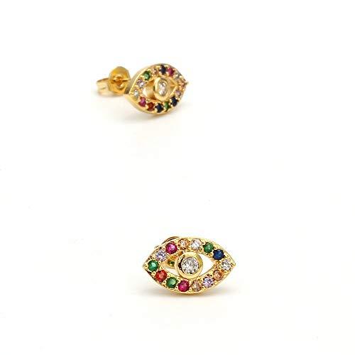 Micro Pave Rainbow Zircon Stud Aretes Oro Color Cobre Turkish Evil Eye Pendientes Joyería de moda para mujeres damas