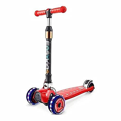 WZWHJ wunderschönen Faltender Skateboard Roller Roller mit 3 Pu-Flash-Rädern Einstellbarer Höhe der Kinder-Roller | 2-13 Jahre alt Kinder Stoßdämpfer Rückwärtsgang (rot) (Color : Red)