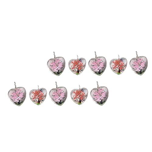 WINOMO 10Pcs Portachiavi A Forma di Cuore Ciondoli di Vetro del Cuore di Amore del Pendente con Fiori Secchi Ornamento per Il Sacchetto della Borsa dello Zaino di Fascino Decor Colore