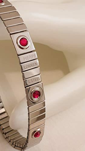 Pulsera simple de plata de rubí de cristal de Swarovski de 8 mm, hecha a mano, regalo de Navidad, 9 piedras de gemas, pulsera sin deslustre, día de San Valentín, julio, cumpleaños, enamorados, parejas