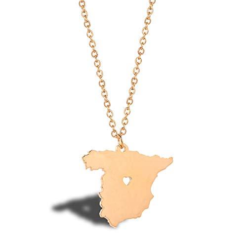 Daesar Collar para Mujer Mapa de España Colgantes Acero Inoxidable Mujer Collar de Mujer Oro Rosa