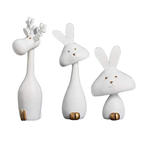 3pcs Polyresin Bunny Sculpture Cute Carton Reindeer Statue Rabbit Figurine Animal Deer Decoration Ornament Home Decor Gifts Souvenirs - White