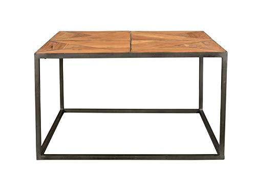 Sit Möbel salontafel, Cross, gerecycled teakstaal, hout naturel gelakt, metaal antiek-grijs,