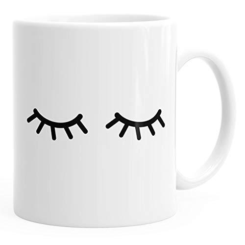 Kaffee-Tasse Schlafende Augen Wimpern Eye Lashes Müde Schlafen Mascara MoonWorks® weiß unisize
