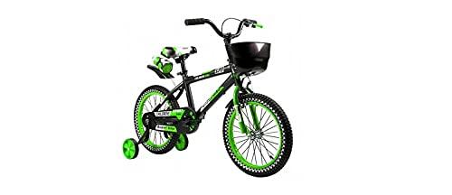 BDW BMX Cross Fun - Kinderfahrrad für Jungen - 16 Zoll - mit Handbremse, Rücktritt, Lenkerpolster und Stützräder - ab 3-12 Jahre - Schwarz/Grün -Wasserflasche und Korb kostenlos!