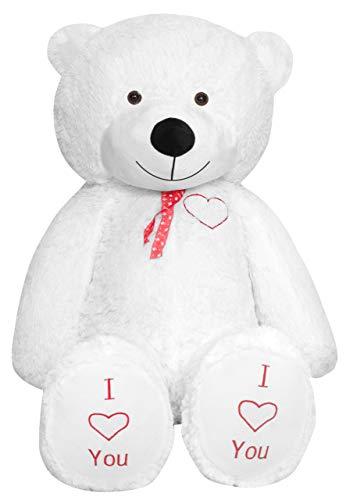 TEDBI Grande Orsacchiotto 180cm   Bianco   Gigante Orso di Peluche farcito Giocattolo Bambini Cuore Regalo di Compleanno XXL Teddi Bear con Ricamo Ti Amo
