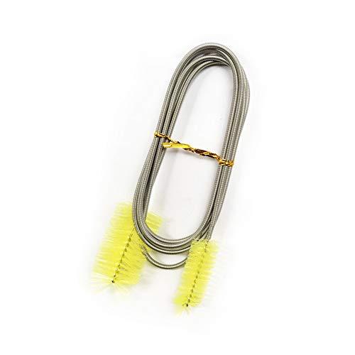 GZGZADMC - Cepillo de limpieza para acuarios (155 cm, flexibles, doble extremo, tubos de pecera, filtros de acero inoxidable, cepillo de filtro de acuario para peceras o cocina casera (amarillo)