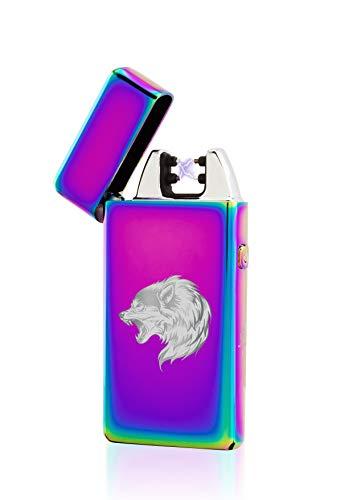 TESLA Lighter T05 Lichtbogen Feuerzeug, Plasma Double-Arc, elektronisch wiederaufladbar, aufladbar mit Strom per USB, ohne Gas und Benzin, mit Ladekabel, in Edler Geschenkverpackung, Regenbogen Wolf