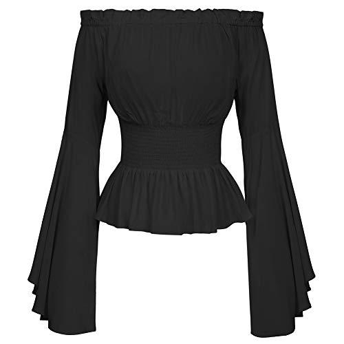 Belle Poque Blouse épaule Dames Sexy Haut Top élégant Chemisier BP468-1 S Noir