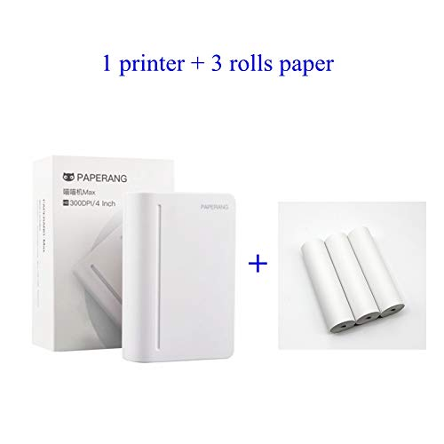 Best Bargain 112mm Wide Format Thermal Printer Mini Portable Bluetooth Printer HD 300DPI for paperan...