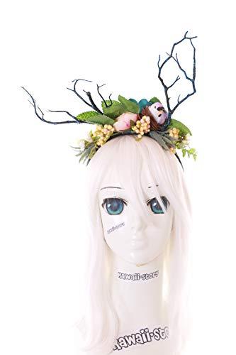 Kawaii-Story C-52 Ramas pjaro nido bruja magia Fantasy bosque flores bayas diadema gtica Lolita LARP