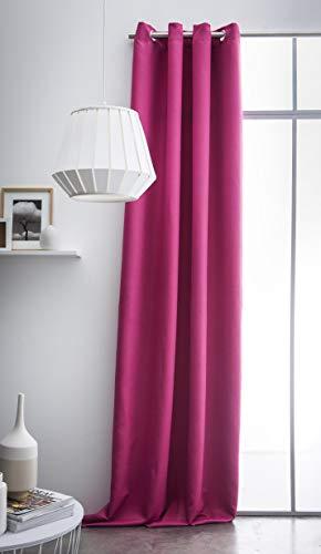 Today 257412 Rideau à œillets Coton Jus de Myrtille/Fuchsia 140 x 250 cm