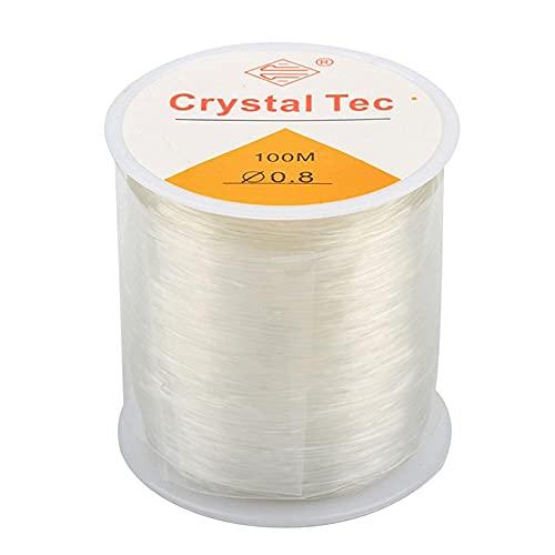 Hilos de perlas elásticas, 100 m, hilo elástico para pulsera 0,8 mm, hilo elástico transparente, para fabricación de pulseras, joyas, collar, artesanía, etc.