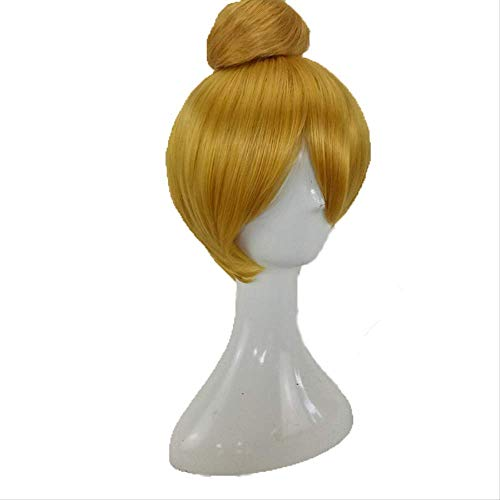 Peluca cosplay sintética de campanita de pelo sintético con bollo desmontable Rubio Marrón Pelucas de disfraces resistentes al calor