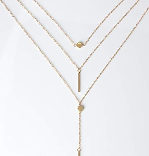 MCAdianpu dames halsketting Europa en de Verenigde Staten nieuw sieraad eenvoudige 3 lagen halsketting kleine dot delicate metalen stang ornamenten hanger stang halsketting