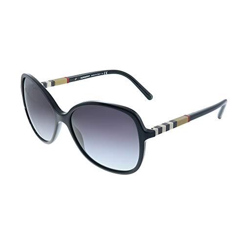 Burberry Unisex BE4197 Sonnenbrille, Schwarz (Gestell: schwarz, Gläser: grau-verlauf 30018G), Large (Herstellergröße: 58)