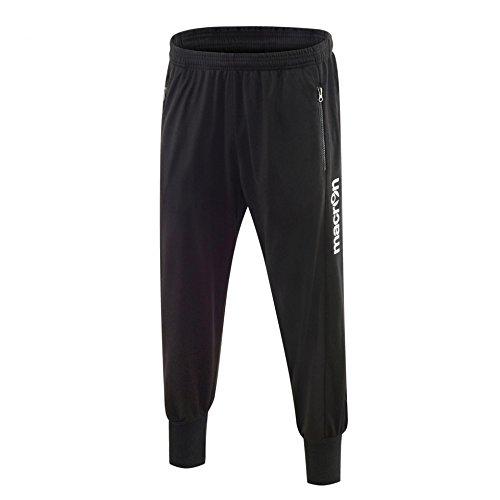 Pantalone Uomo Tuta Da Ginnastica e Tempo Libero con Tasche Zip e Fondo Stretto Macron Sepik Pant, Colore: Nero, Taglia: L