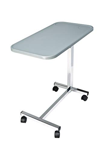 """Lumex Modern Overbed Table with Wheels - 28-41"""" Adjustable Height for Hospital Bed & Home Bedside Use - Grey, GF8903P"""