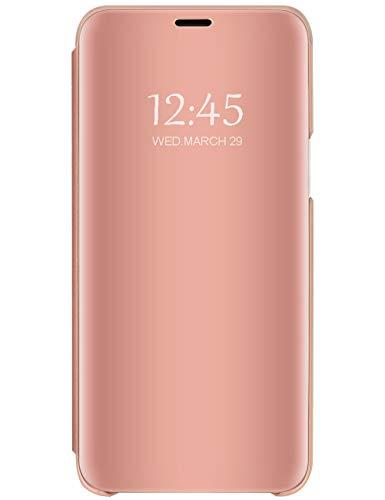 Funda de piel sintética con efecto espejo compatible con LG K41S, con función atril, de plástico duro y transparente