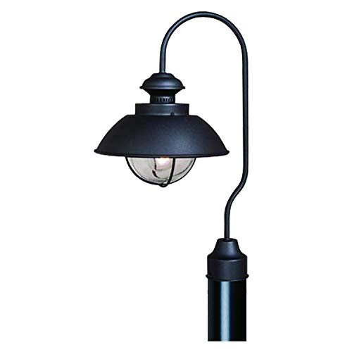 VAXCEL Outdoor Farmhouse Post Light - Harwich Textured Black with Clear Seeded Glass Shade, Coastal Post Lamp, Rustic Gooseneck Barn Fixture for Driveway, Backyard, Street Lighting, Deck. Patio