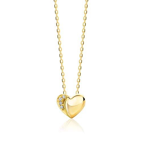 Orovi Kette für Damen Schmuck Gelbgold 9 Karat/ 375 Gold HalsKette Herz Anhänger mit Diamant Brillanten