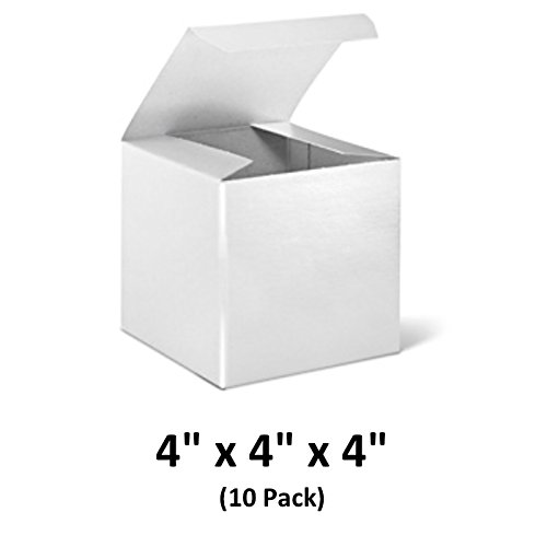 White Cardboard Tuck Top Gift Boxes with Lids, 4x4x4 (10 Pack) for Gifts, Crafting & Cupcakes | MagicWater Supply