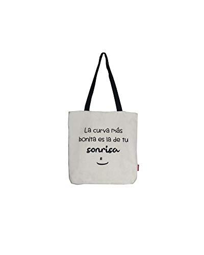 Hello-Bags - Bolso Tote con Cremallera, Forro y Bolsillo Interior, Blanco, 38 cm