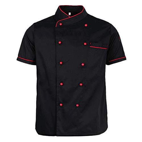 Lsgepavilion Sommer-Chef Mantel zweireihig Kurzarm Kostüm Restaurant Hotel Cafe Küche Latzhose, Baumwollmischung, Schwarz, Large