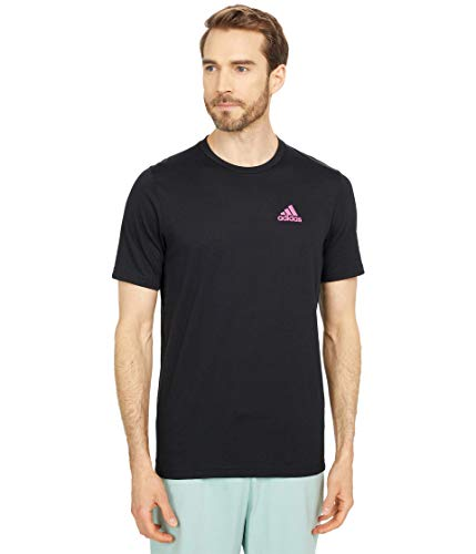 adidas mens Designed to Move FEEL.RDY T-Shirt Black/Pink XX-Large