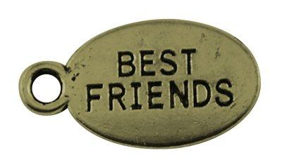 10 x 'Style vintage' Bronze antique * * Best Friends Tag Charms. Anneaux inclus pour accessoires. Utilisation universelle pour bijoux, carterie et scrapbooking. (Ref : 1e49)