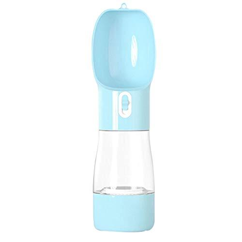 ケイ・ララ ペット 散歩 水 ペットボトル ウォーターボトル 給水器 水漏れ防止 水食一体 ストラップ付き [ブルー]