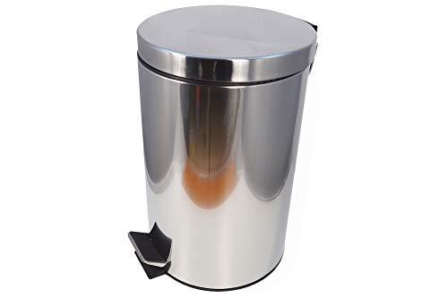 IHC Müllbehälter Rund Mülleimer Abfallsammler Edelstahl Papierkorb Pedaleimer Treteimer 12 Liter