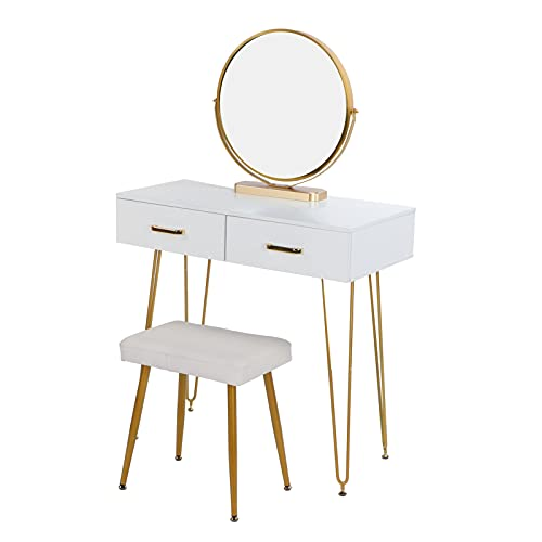 XQAQX Mesa de Maquillaje, tocador para el hogar, Mesa de Maquillaje con Taburete, cajones, Espejo para decoración de Muebles de Dormitorio