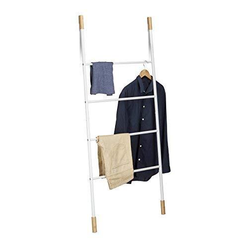 Relaxdays Handtuchleiter Metall, Kleiderleiter mit 4 Sprossen, freistehende Wäscheleiter, Bambus, HBT: 150x70x2cm, weiß