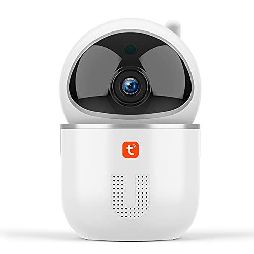Tuya Cámara IP 1080P, monitor de bebé de seguimiento automático del CCTV de la vigilancia de la seguridad de la nube de WiFi inalámbrico,Blanco