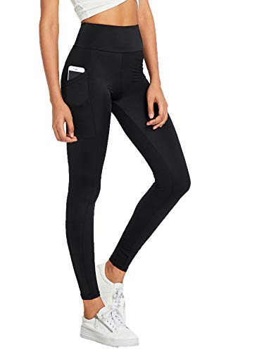 SweatyRocks Women's High Waist Mesh Yoga Pants Stretch Workout Leggings with Side Pocket Black M