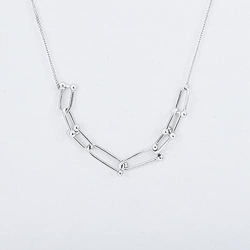 GYAM Collar S925 Plata Moda Simple Geométrica En Forma De U Cadena De Clavícula Hueca para Mujer,Plata