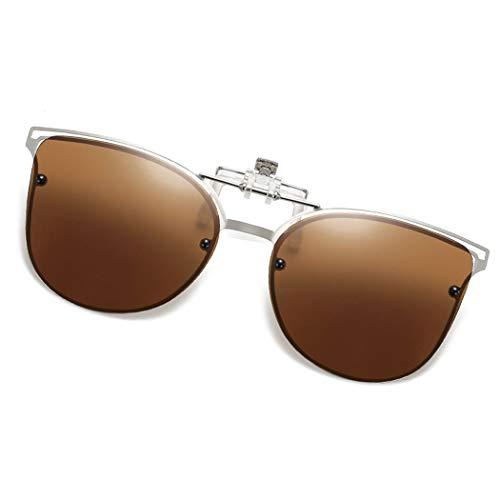 Polarized Clip-on Sunglasses Anti-Glare UV Protection Cateye Sunglasses Clip On Prescription Glasses (Cateye--Brown)
