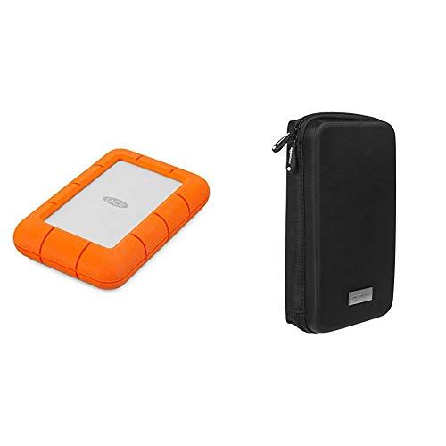 LaCie Rugged Mini, 4 TB, tragbare Externe Festplatte, 2.5 Zoll, USB 3.0, Mac & PC, Modellnr.: LAC9000633 & Amazon Basics Universaltasche für elektronische Kleingeräte