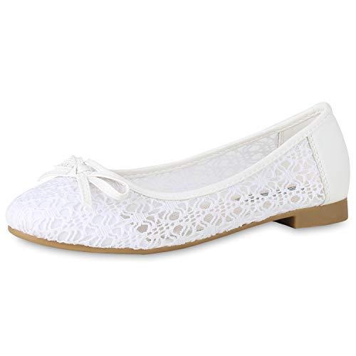 SCARPE VITA Klassische Damen Ballerinas Spitzenstoff Schleifen Flats Slippers 154273 Weiss Schleifen 39