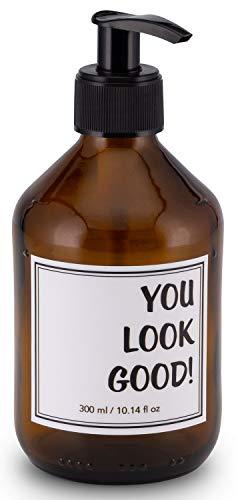 Lifestyle Lover Seifenspender 300ml aus Braunglas, Bernsteinfarben für Seife Spüli Shampoo Lotionen Braun Glas, You Look Good